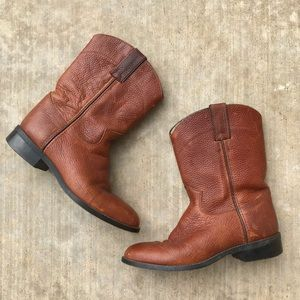 Justin Youth Roper Boots Brown Tan 3.5
